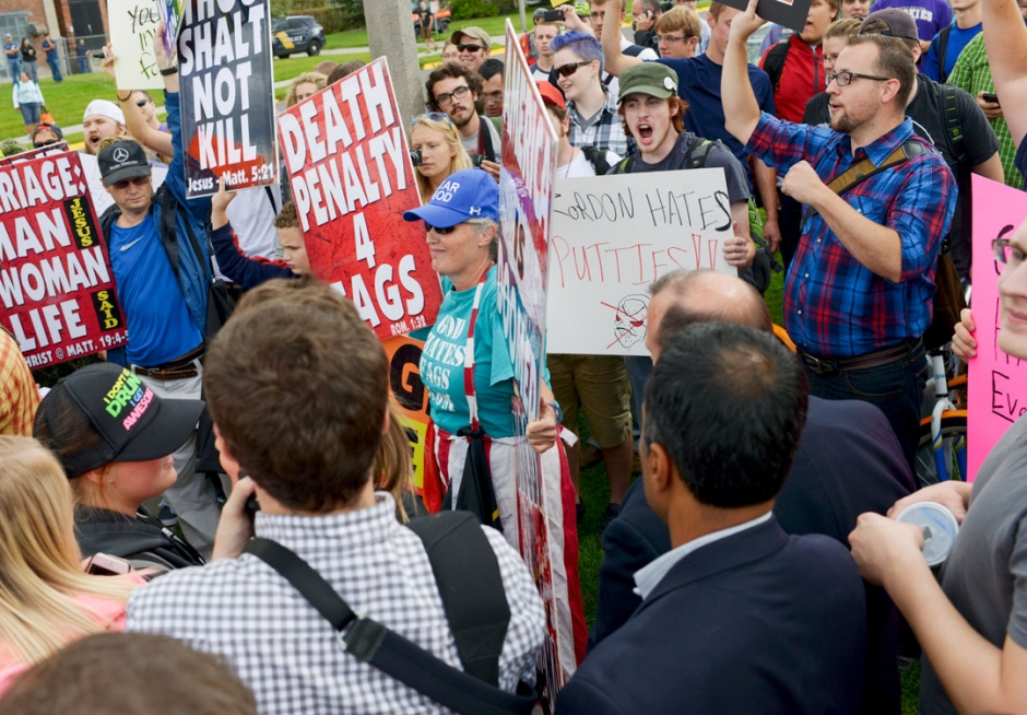 Members of the Westboro Baptist Church are confronted by supporters of marriage equality on the Montana State University campus Monday afternoon.