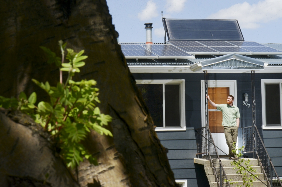 Mike Greener/Chronicle  Orion Thornton, owner of Onsite Energy, has retrofitted his Bozeman home with solar panels and has changed it into a super energy efficient home.
