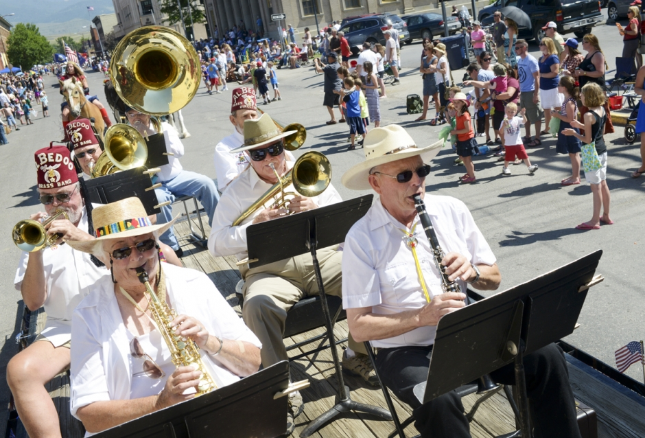 Members of the Al Bedoo Shriners brass band perform for the crowd during the Livingston 4th of July parade Wednesday afternoon in downtown Livingston.