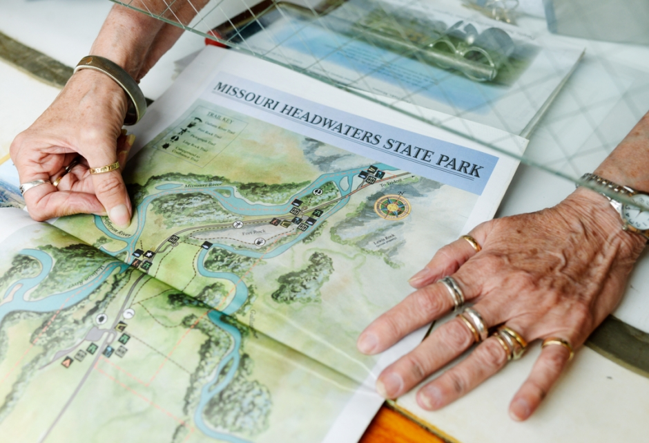 Mike Greener/Chronicle  Mary Miller points out highlights for vistors to check out at the Headwaters State Park.